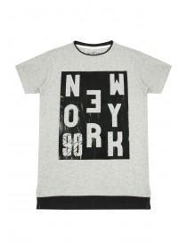 Older Boys Grey New York Slogan T-Shirt