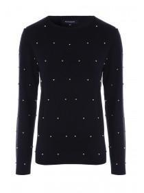 Womens Black Pearl Front Jumper