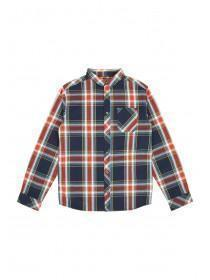 Older Boys Navy Check Long Sleeve Shirt