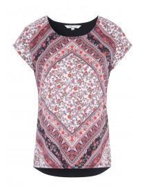 Womens Black Floral Print T-Shirt