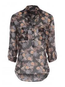 Womens Black Sheer Floral Shirt