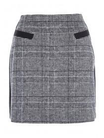 Womens Monochrome Check Panel Skirt