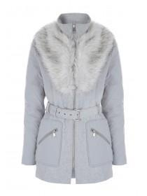 Womens Grey Faux Fur Collar Hybrid Coat