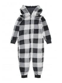 Boys Grey Check Onesie