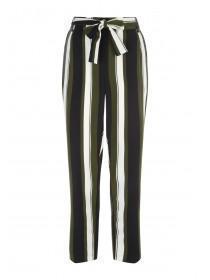 Womens Stripe Tie Waist Slim Leg Trousers