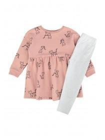 Younger Girls Pink Cat Dress and Leggings Set