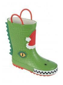 Younger Boys Green Dinosaur Handle Wellies