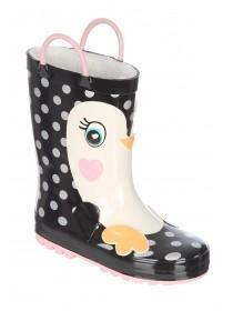 Younger Girls Black Penguin Handle Wellies