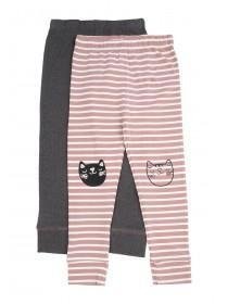 Younger Girls 2pk Stripe Leggings