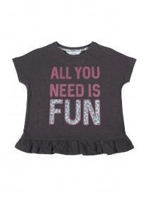 Younger Girls Grey Fun Slogan T-Shirt