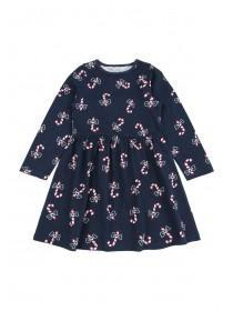 Younger Girls Navy Christmas Dress