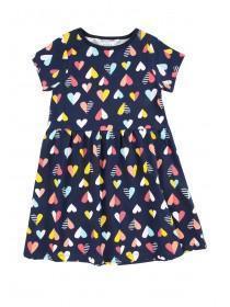 Younger Girls Navy Heart Dress