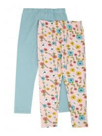 Younger Girls 2pk Pink Floral Leggings