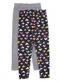 Younger Girls 2pk Navy Heart Leggings