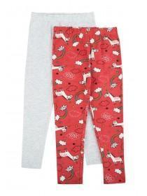 Younger Girls 2pk Coral Unicorn Leggings