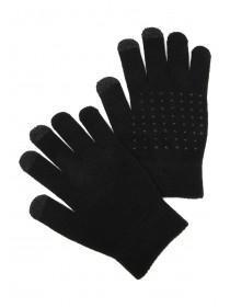 Womens Black Grip Touch Screen Gloves