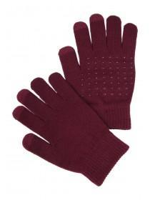 Womens Burgundy Grip Touch Screen Gloves