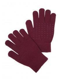 Womens Burgundy Grip Gloves