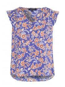 Womens Blue Floral Top