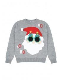 Older Boys Grey Santa Face Jumper