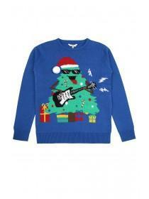 Older Boys Blue Musical Christmas Tree Jumper
