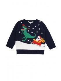Younger Boys Navy T-Rex Christmas Jumper