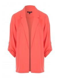 Womens Coral Orange Button Tab Blazer