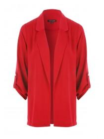 Womens Red Button Tab Blazer