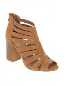 Womens Tan Strappy Heel Boots