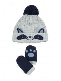 Baby Boys 2pc Grey Racoon Hat and Mittens Set