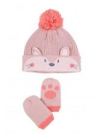 Baby Girls 2pc Pink Fox Hat and Mittens Set