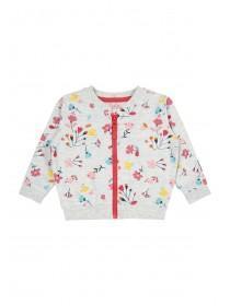 Baby Girls Grey Floral Zip Sweater