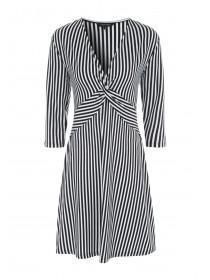 Womens Monochrome Stripe Twist Front Dress