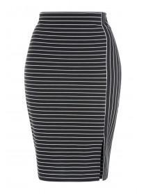 Womens Monochrome Stripe Pencil Skirt
