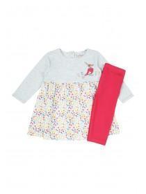 Baby Girls Grey Dress and Leggings Set