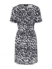 Womens Monochrome Animal Print Shift Dress