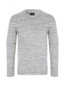 Mens Light Grey Textured Jumper