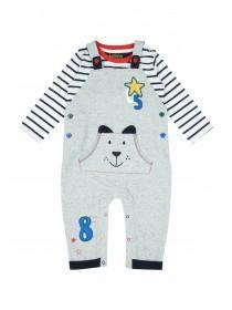 Baby Boys Grey Dog Dungaree Set