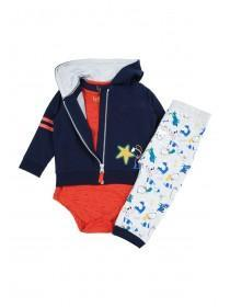 Baby Boys Blue Dog Hoody and Bodysuit Set