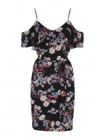 Womens Black Floral Frill Cold Shoulder Dress