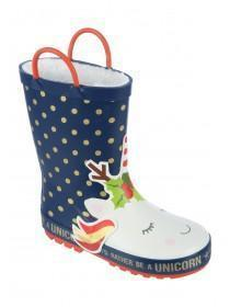 Younger Girls Navy Unicorn Handle Wellies