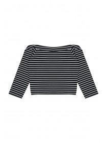 Older Girls Monochrome Stripe Bardot Top