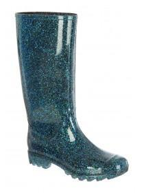 Womens Green Glitter Long Leg Wellies