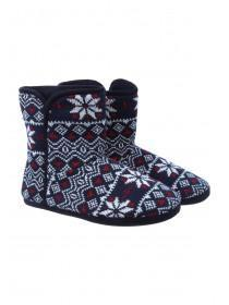 Mens Navy Fairisle Slipper Boots