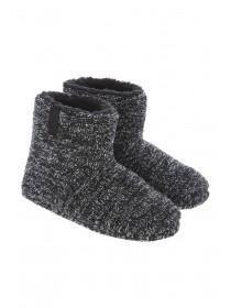 Mens Black Two Tone Slipper Boots
