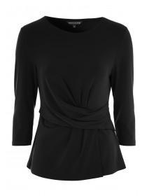 Womens Black Wrap Front Top
