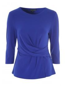 Womens Cobalt Blue Wrap Front Top