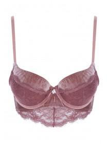 Womens Pink Velvet and Lace Push Up Bra