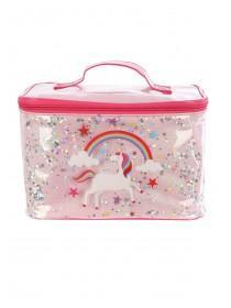 Pink Unicorn Moving Sequin Vanity Case