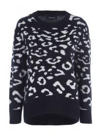 Womens Monochrome Leopard Print Jumper